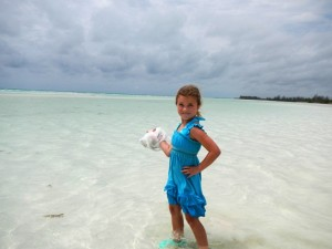 A girl with her shells.