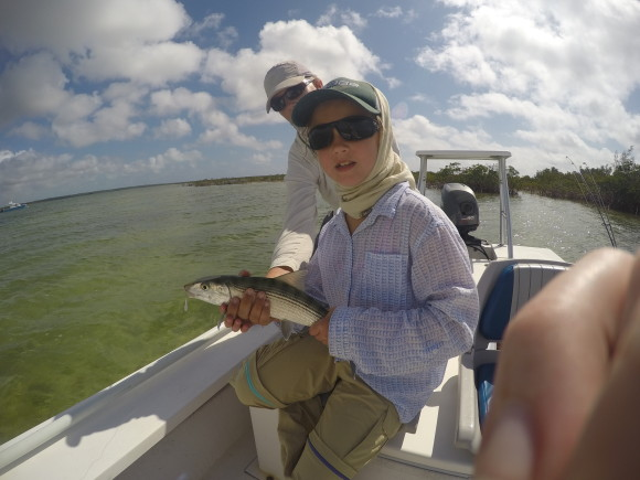 The girl's first bonefish.