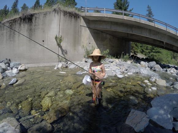 The girl, breaking in her new rod.