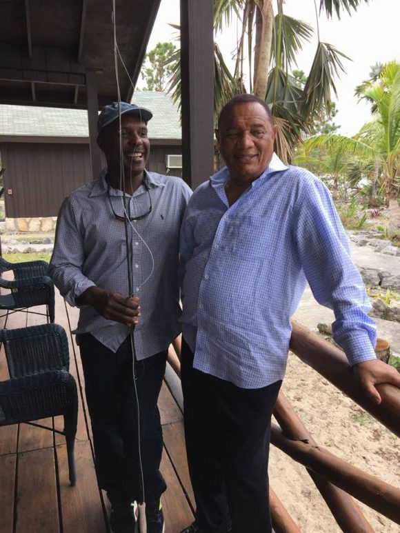 The Prime Minister of the Bahamas and the guy who wants to control the flats fishing industry.